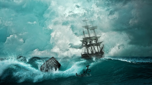 bouře na moři